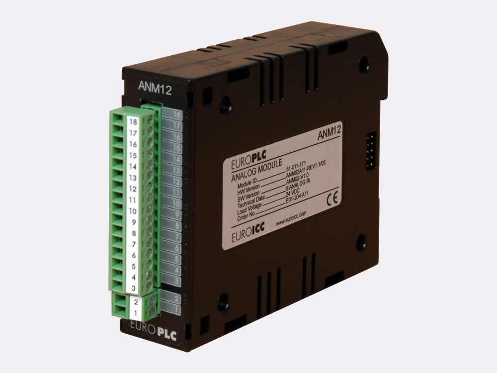 Analog module BACnet PLC - M2.ANM.12 has 8 input channels with maximal 16-bit (12 bit with factory default calibration) resolution.