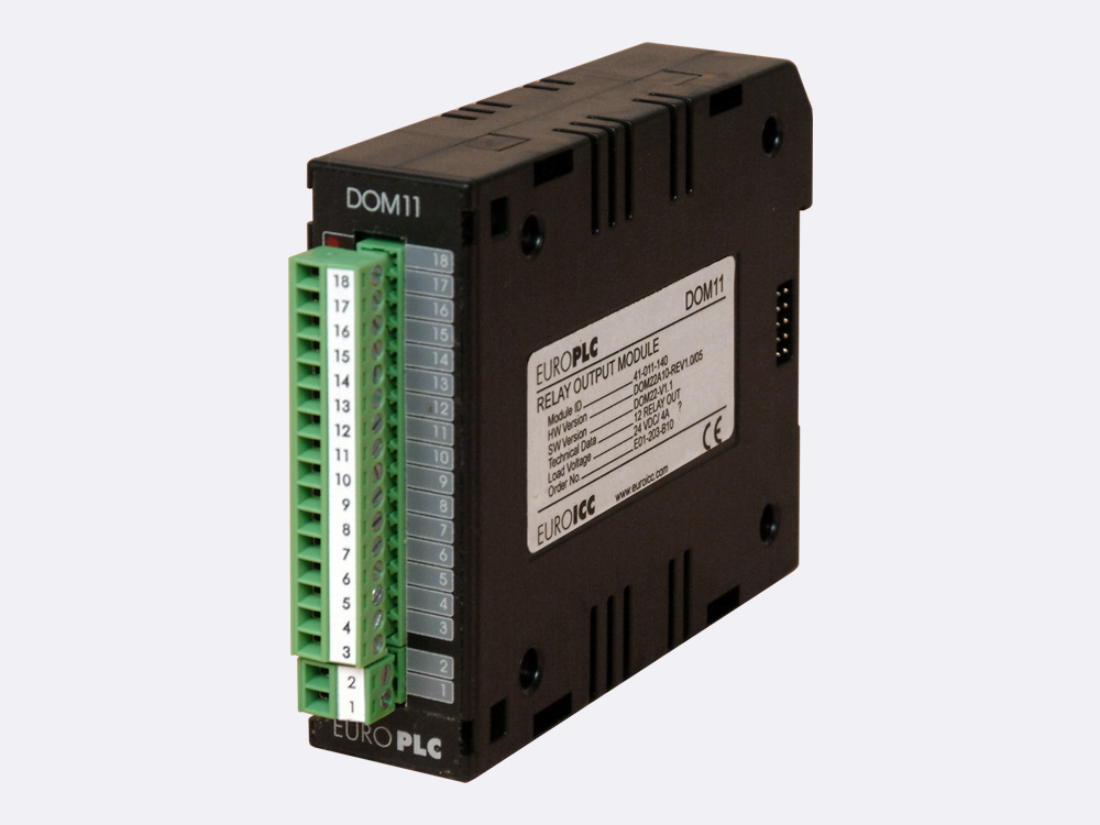 Digital output module BACnet PLC -M2.DOM.11 has 14 non-latching transistor outputs with common pole and LED indication of the state in the ouput circuit and 2 PWM outputs that share common pole with digital outputs.