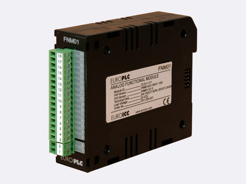 Functional module BACnet PLC - M2.FNM.01 combines the functionality of analog and digital modules. BACnet PLC - M2.FNM.01 has 4 digital inputs 24 VDC with common pole, 4 non-latching transistor outputs and 4 analog input channels with maximal 16-bit (12 bit with factory default calibration) resolution.