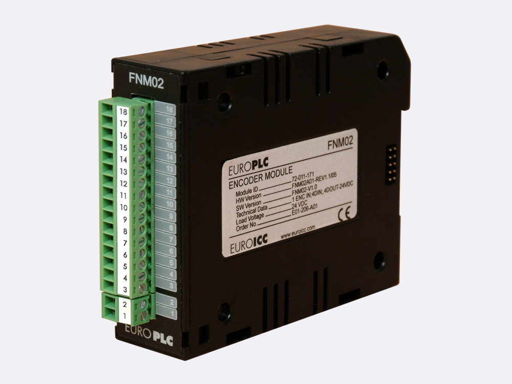 Functional module BACnet PLC - M2.FNM.02 combines the functionality of analog and digital modules - 4 digital inputs 24VDC with common pole, 4 non latching transistor outputs with common pole, 3 analog inputs, 1 analog output
