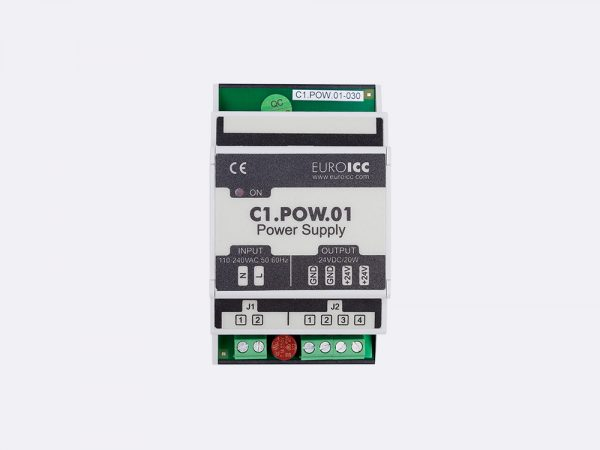 The BACnet PLC – C1.POW.01 power supply module is designed to convert electric power from the public home/indoor electric grid to voltage-stabilized DC power which is necessary for stable operation of devices from C series of EuroICC home automation controlers.