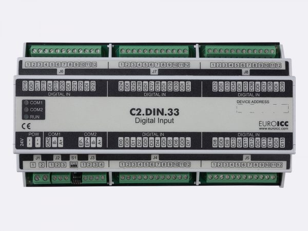 Digital input BACnet PLC – C2.DIN.33 can be used in remote fields IO in any Bacnet and/or Modbus network – Native Bacnet programmable device, 40 digital inputs