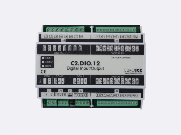 BACnet PLC – C2.DIO.12 can be used in remote fields IO in any Bacnet and/or Modbus network – Native Bacnet programmable device, 4 relay outputs, 16 digital inputs