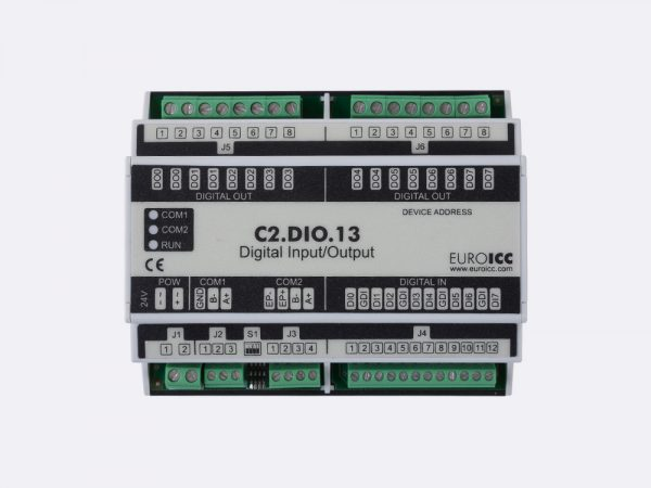 BACnet PLC – C2.DIO.13 can be used in remote fields IO in any Bacnet and/or Modbus network – Native Bacnet programmable device, 8 relay outputs, 8 digital inputs