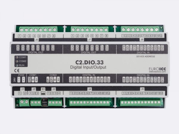 BACnet PLC – C2.DIO.33 can be used in remote fields IO in any Bacnet and/or Modbus network – Native Bacnet programmable device, 8 relay outputs, 24 digital inputs