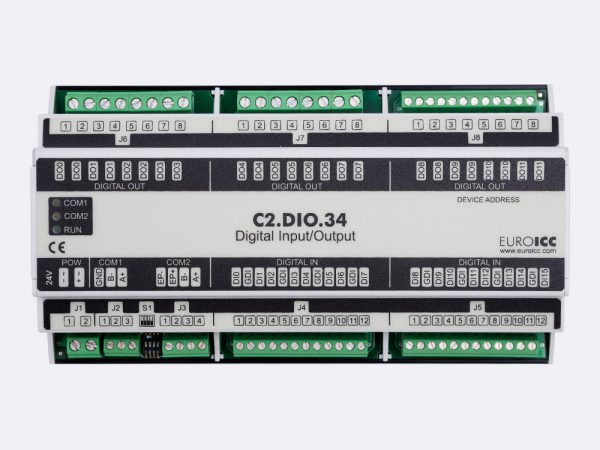 BACnet PLC – C2.DIO.34 can be used in remote fields IO in any Bacnet and/or Modbus network – Native Bacnet programmable device, 12 relay outputs, 16 digital inputs