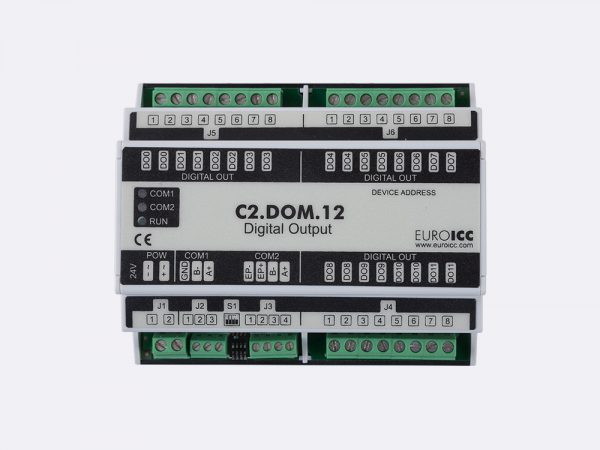 Digital input BACnet PLC – C2.DOM.12 can be used in remote fields IO in any Bacnet and/or Modbus network – Native Bacnet programmable device, 12 relay outputs