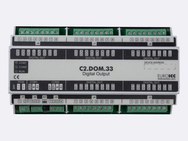 Digital input BACnet PLC – C2.DOM.33 can be used in remote fields IO in any Bacnet and/or Modbus network – Native Bacnet programmable device, 20 relay outputs
