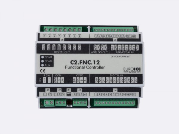 The BACnet programmable functional controller BACnet PLC – C2.FNC.12 designed for wide range of building automation tasks – 4 relay outputs, 8 digital inputs, 2 analog outputs, 4 universal inputs