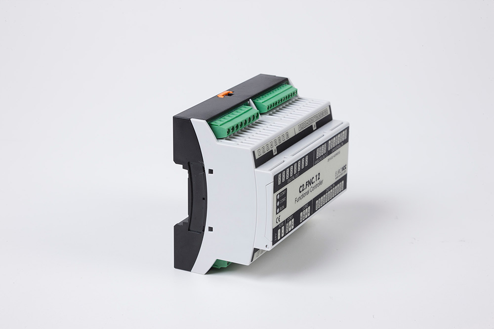 The BACnet programmable functional controller BACnet PLC - C2.FNC.12 designed for wide range of building automation tasks - 4 relay outputs, 8 digital inputs, 2 analog outputs, 4 universal inputs