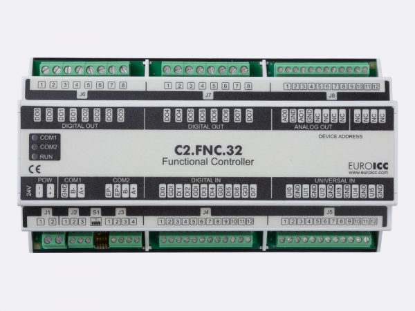 The BACnet programmable functional controller BACnet PLC – C2.FNC.32 designed for wide range of building automation tasks -8 relay outputs, 8 digital inputs, 2 analog outputs, 6 universal inputs