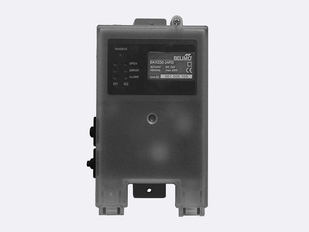 BKN 230 - 24 RB is used for controlling up to two Belimo MP bus fire damper actuators (BF24 TL-T-ST and BLF24K - T- ST). The unit is connected to RingBus master controller via the 4 wire Ringbus communication
