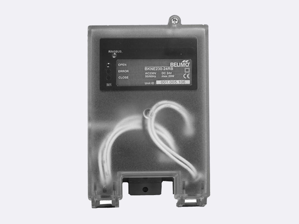 BKNE 230 – 24RB is used for controlling one Belimo 24V smoke control damper actuator (BE24..-ST, BLE24-ST). The unit is connected to the Ringbus master controller via the 4 wire Ringbus communication.