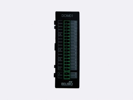 The RBCPU 1.02 IN Module has 16 digital inputs (24 VAC) with a common ground and has a LED indication of the input circuit state.