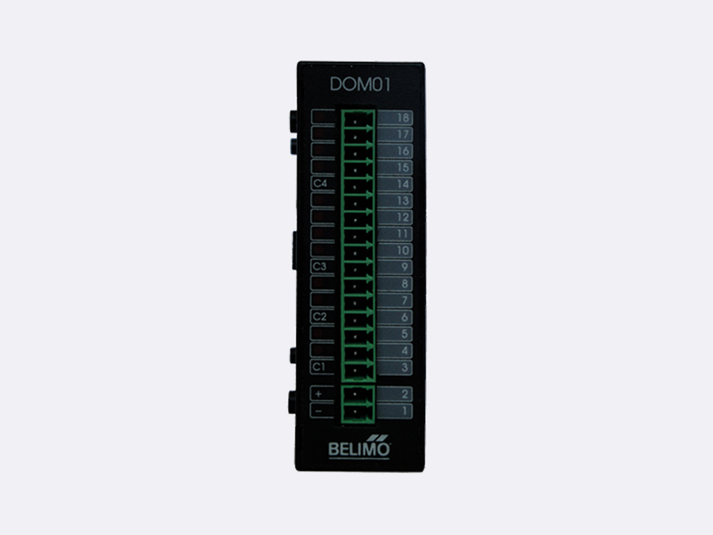 The RBCPU 1.03 OUT Module has 12 non latching relay outputs (NO), grouped in 4 groups (each with a common ground). Each output has a LED status indication.