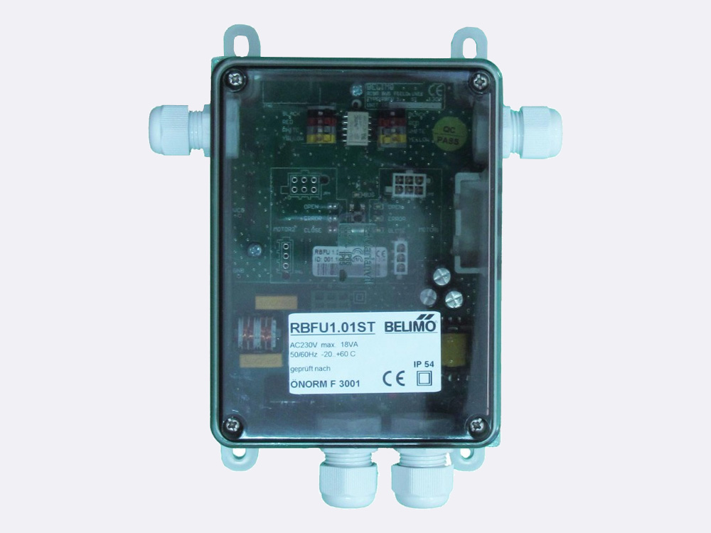 RBFU 1.01 ST Field Unit is used for controlling one Belimo 24 V fire damper actuator (BF24..-ST, BFG24..-ST, BLF24..-ST). The unit is connected to the ringbus master controller module via a 4 wire ring bus communication.