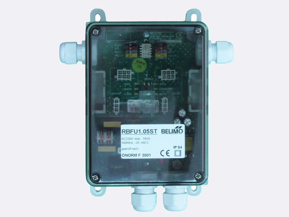RBFU 1.05 ST Field Unit is used for controlling up to two Belimo 24 V fire damper actuators (BF24..-ST, BFG24..-ST, BLF24..-ST). The unit is connected to RingBus master controller via the 4 wire Ringbus communication