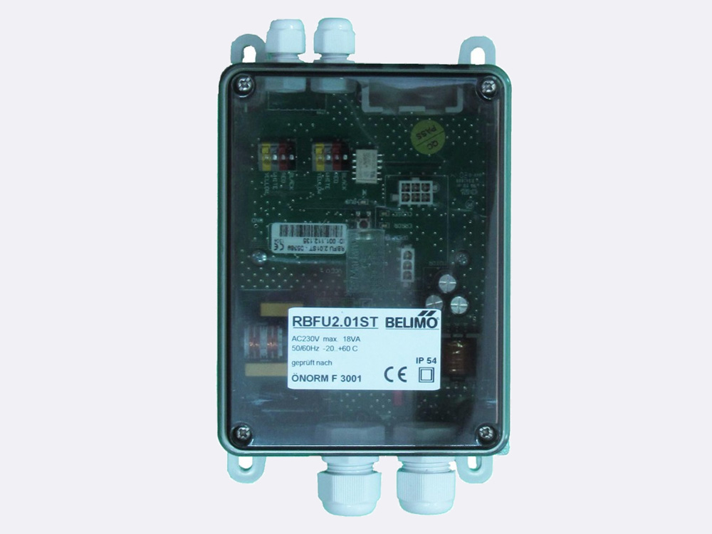 RBFU 2.01 ST Field Unit is used for controlling one Belimo 24V smoke control damper actuator (BE24..-ST, BLE24-ST). The unit is connected to the Ringbus master controller via a 4 wire ring bus communication