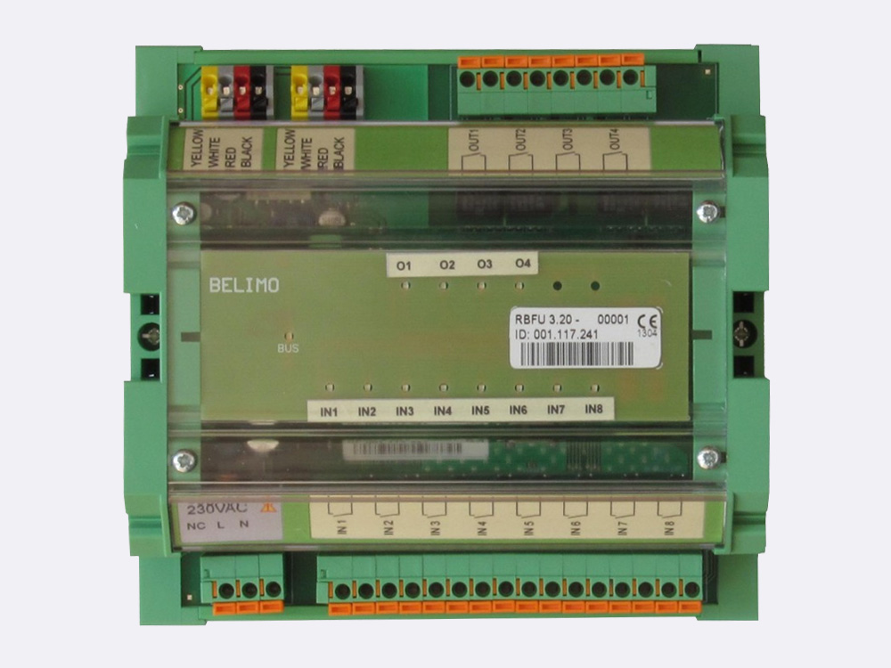 RBFU 3.20 has 8 digital inputs and 4 digital outputs. It is mountable on DIN rail. Inputs are potential free contacts. Outputs are NO relay contacts. The unit is connected to the Ringbus master controller via a 4 wire ring bus communication