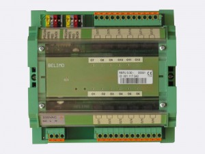 RBFU 3.30 has 12 digital outputs. It is mountable on DIN rail. Outputs are NO relay contacts. The unit is connected to the Ringbus master controller via a 4 wire ring bus communication