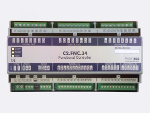 The BACnet programmable functional controller BACnet PLC – C2.FNC.34 designed for wide range of building automation tasks - 8 independent SPST NO relays, 2×3 group SPST NO relays, 2 triac outputs, 12 potential-free inputs, 3 analog outputs