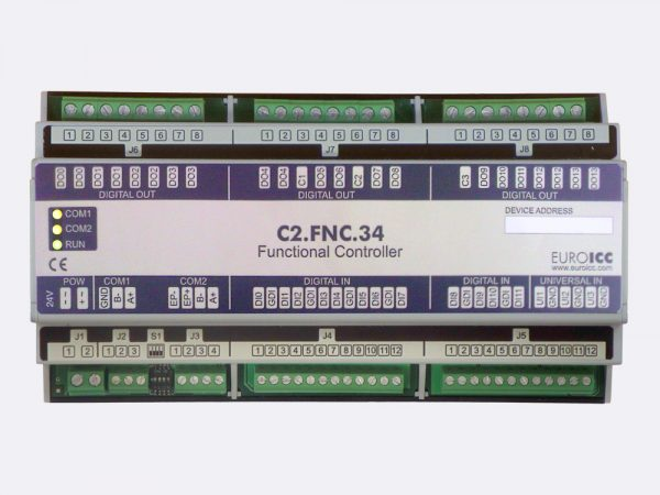 The BACnet programmable functional controller BACnet PLC – C2.FNC.34 designed for wide range of building automation tasks – 8 independent SPST NO relays, 2×3 group SPST NO relays, 2 triac outputs, 12 potential-free inputs, 3 analog outputs