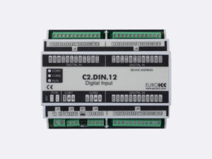 PLC Controller for Guest Room Management System, Smart Hotel Control and Home Automation - BACnet programmable functional controller BACnet PLC – C2.DIN.12 designed for wide range of building automation and guest room management system tasks can be used in remote fields IO in any Bacnet and/or Modbus network – Native Bacnet programmable device, 24 digital inputs