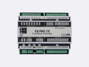 PLC Controller for Guest Room Management System, Smart Hotel Control and Home Automation - BACnet programmable functional controller BACnet PLC – C2.FNC.12 designed for wide range of building automation and guest room management system tasks – 4 relay outputs, 8 digital inputs, 2 analog outputs, 4 universal inputs
