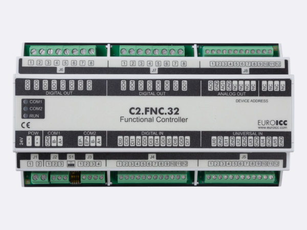 PLC Controller for Guest Room Management System, Smart Hotel Control and Home Automation – BACnet programmable functional controller BACnet PLC – C2.FNC.32 designed for wide range of building automation  and guest room management system tasks -8 relay outputs, 8 digital inputs, 2 analog outputs, 6 universal inputs