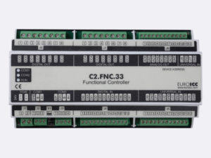PLC Controller for Guest Room Management System, Smart Hotel Control and Home Automation - BACnet programmable functional controller BACnet PLC – C2.FNC.33 designed for wide range of building automation and guest room management system tasks -8 relay outputs, 8 digital inputs, 4 analog outputs, 8 universal inputs