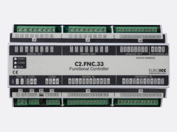 PLC Controller for Guest Room Management System, Smart Hotel Control and Home Automation – BACnet programmable functional controller BACnet PLC – C2.FNC.33 designed for wide range of building automation    and guest room management system tasks -8 relay outputs, 8 digital inputs, 4 analog outputs, 8 universal inputs