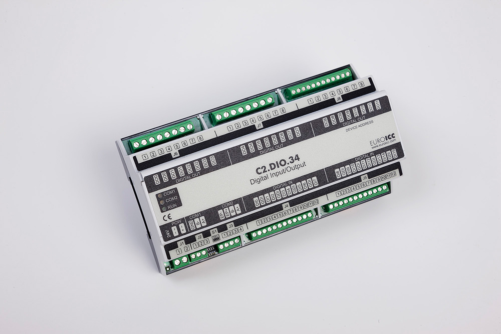 BACnet PLC - C2.DIO.34 can be used in remote fields IO in any Bacnet and/or Modbus network - Native Bacnet programmable device, 12 relay outputs, 16 digital inputs