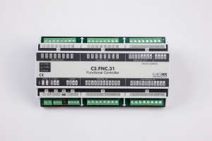 The BACnet programmable functional controller BACnet PLC - C2.FNC.31 designed for wide range of building automation tasks -8 relay outputs, 8 digital inputs, 2 analog outputs, 4 universal inputs