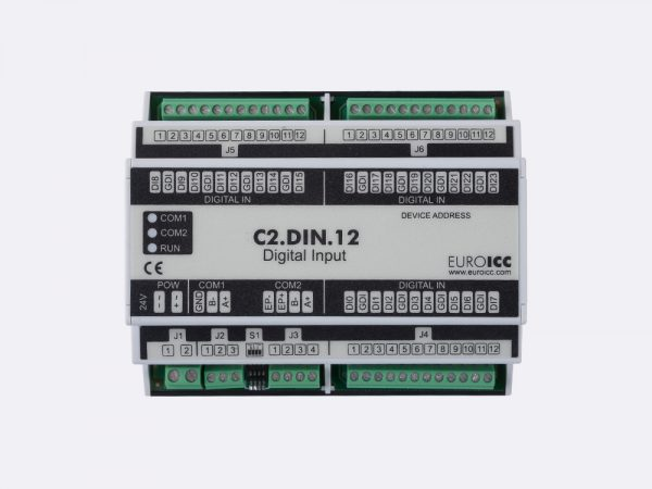 Digital input BACnet PLC – C2.DIN.12 can be used in remote fields IO in any Bacnet and/or Modbus network – Native Bacnet programmable device, 24 digital inputs