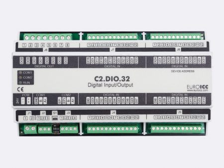 BACnet PLC - C2.DIO.32 can be used in remote fields IO in any Bacnet and/or Modbus network - Native Bacnet programmable device, 4 relay outputs, 32 digital inputs