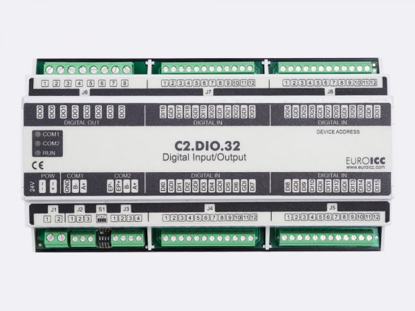 BACnet PLC – C2.DIO.32 can be used in remote fields IO in any Bacnet and/or Modbus network – Native Bacnet programmable device, 4 relay outputs, 32 digital inputs