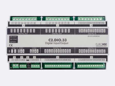 BACnet PLC - C2.DIO.33 can be used in remote fields IO in any Bacnet and/or Modbus network - Native Bacnet programmable device, 8 relay outputs, 24 digital inputs
