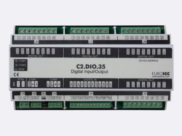 BACnet PLC – C2.DIO.35 can be used in remote fields IO in any Bacnet and/or Modbus network – Native Bacnet programmable device, 16 relay outputs, 8 digital inputs