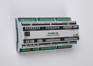 The BACnet programmable functional controller BACnet PLC - C2.FNC.32 designed for wide range of building automation tasks -8 relay outputs, 8 digital inputs, 2 analog outputs, 6 universal inputs
