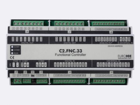 The BACnet programmable functional controller BACnet PLC – C2.FNC.33 designed for wide range of building automation tasks -8 relay outputs, 8 digital inputs, 4 analog outputs, 8 universal inputs
