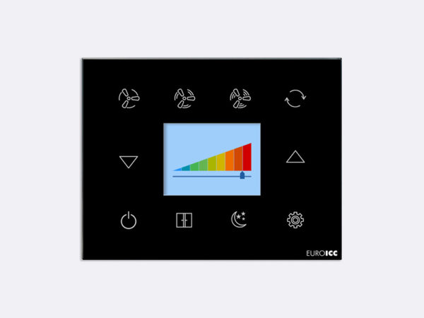 Smart Programmable Intelligent wall touch panel for Guest Room Management System, Smart Hotel Control, Home Automation and Building Automation – RD.RDA.03 – Customizable Intelligent Room Thermostat designed for wide range of Building Automation and Guest Room Management System tasks