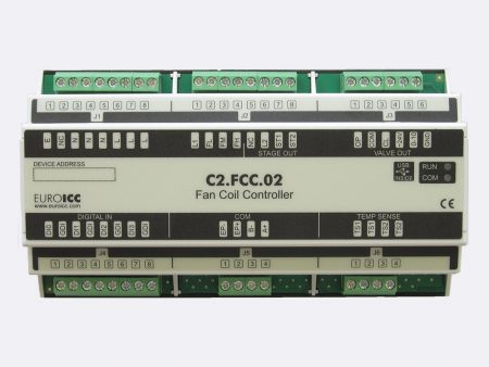 Fan coil controller C2.FCC.02 is a universal FCU controller designed for use in two-pipe applications. On primary communication channel (RS485), various communication protocols are supported