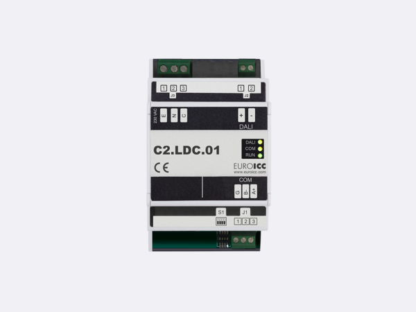 PLC Controller for Guest Room Management System, Smart Hotel Control and Home Automation – BACnet programmable functional controller BACnet PLC – DALI Master Gateway C2.LDC.01 is a programmable device   designed for wide range of building automation  and guest room management system tasks with a wide range of light control options. It converts BACnet or Modbus to DALI protocol.