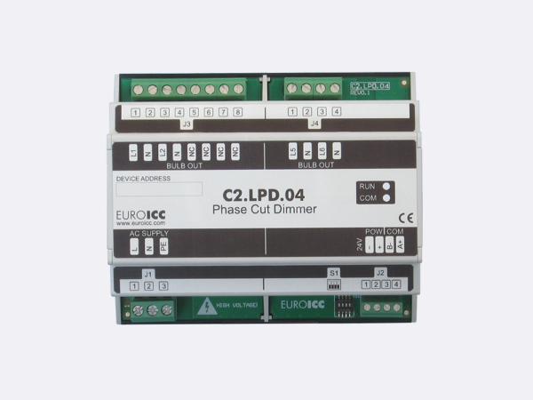 PLC Controller for Guest Room Management System, Smart Hotel Control and Home Automation – BACnet programmable functional controller BACnet PLC – Lighting Phase Cut Dimmer C2.LPD.04 is a programmable and   configurable Leading or Trailing edge phase cut dimmer designed for wide range of building automation  and guest room management system tasks.Up to 4 channels phase cut dimmer